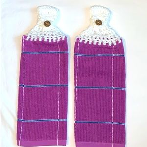 HP🔥 Lot of 2 Crocheted Top Hanging Kitchen Towels